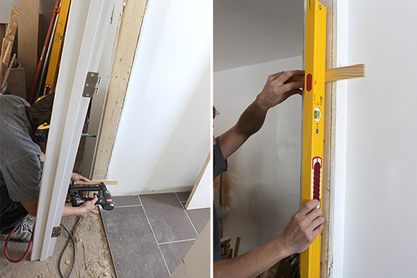 How to Install a Pre-Hung Door | Home Coming for tealandlime.com