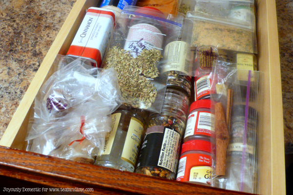 Easy DIY Spice Drawer Storage | Joyously Domestic for tealandlime.com