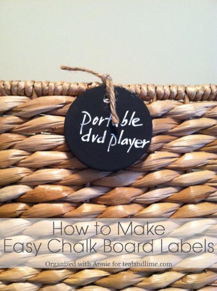 How to Make Chalk Board Basket Labels   tealandlime.com