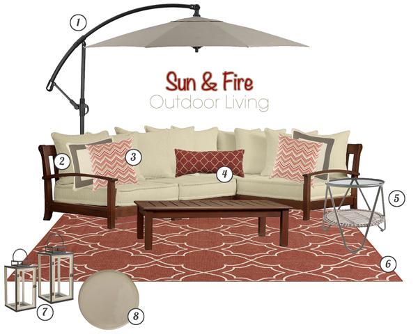Sun & Fire Outdoor Living Mood Board | tealandlime.com