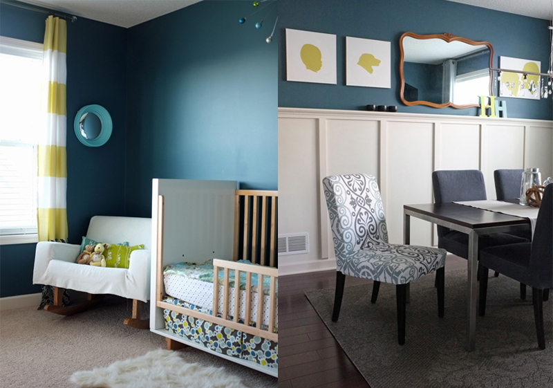 Dark Teal Walls In A Nursery And Dining Room Part 61
