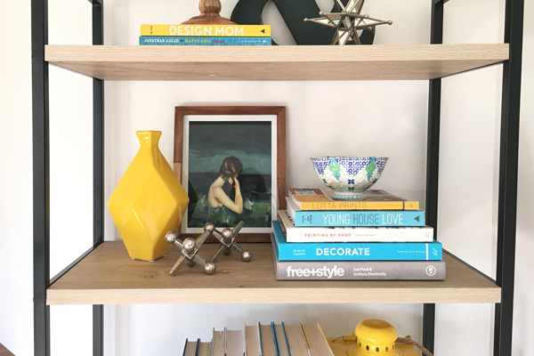 How to style an open bookshelf with books and home decor