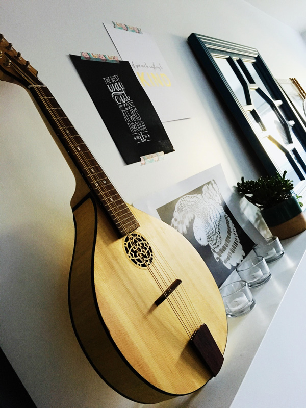 Handmade mandolin used as wall decor