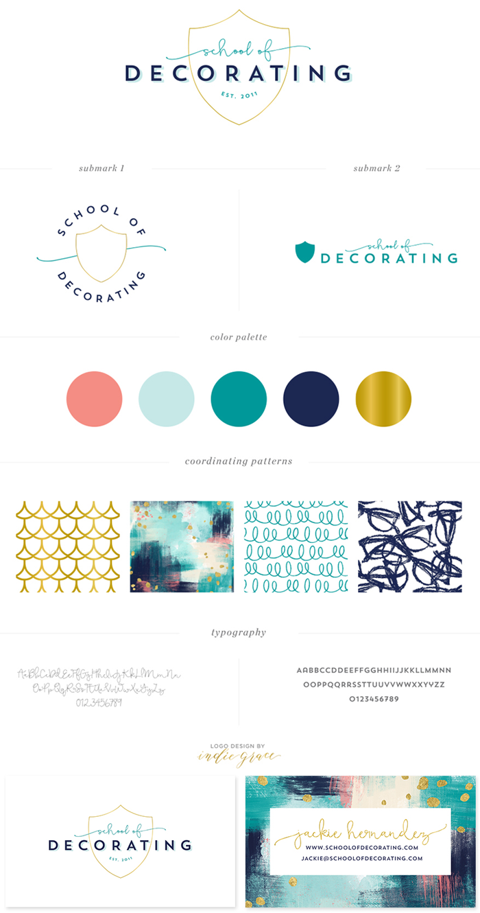 Branding for SchoolOfDecorating.com - a resource for women to learn how to decorate their own home