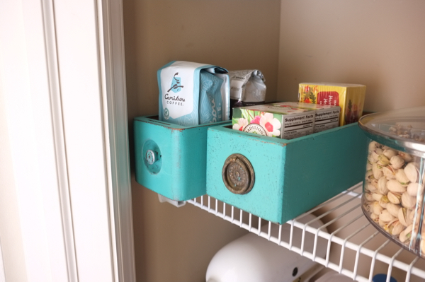 """Use old drawers as """"baskets"""" in a pantry."""