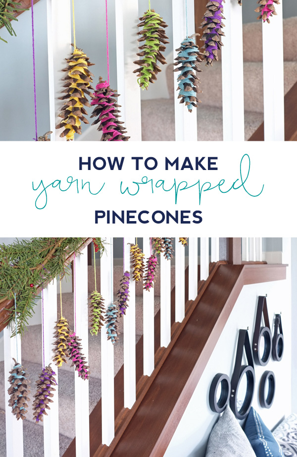 Learn how to make colorful yarn wrapped pinecones. Great for garlands, ornaments, or to hang from the mantel. Click through for the full instructions.