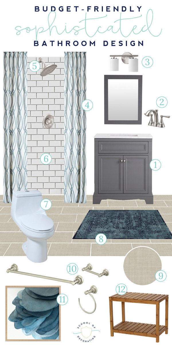 You won't believe the LOW price tag on this bathroom design. Everything is budget-friendly, but still high style. Click through for all the sources.