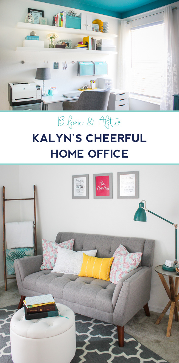 Before & After: A cheerful home office that proves ou don't have to paint your walls to create a colorful space.