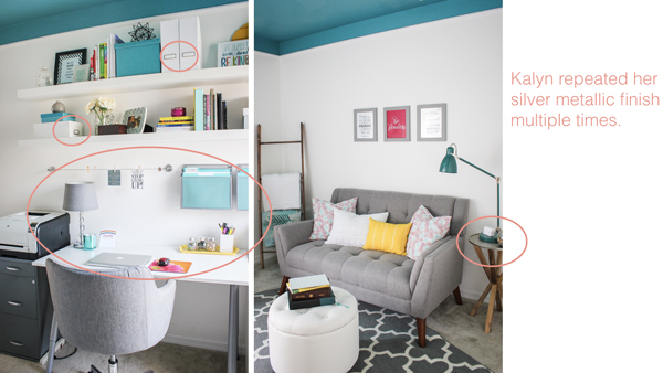 Love how the silver metallic finish is repeated throughout this cheerful home office.