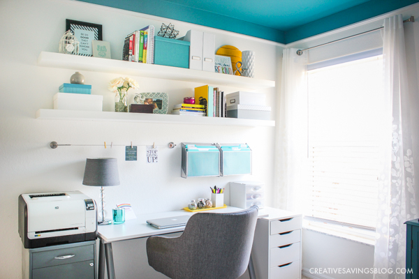 Love this colorful home office with white walls