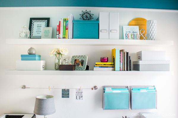 Pretty shelf styling - mixing a a few different accent colors.