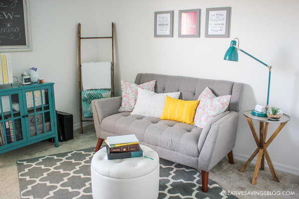 Add a cozy loveseat to a home office and create a sitting area away from the desk.