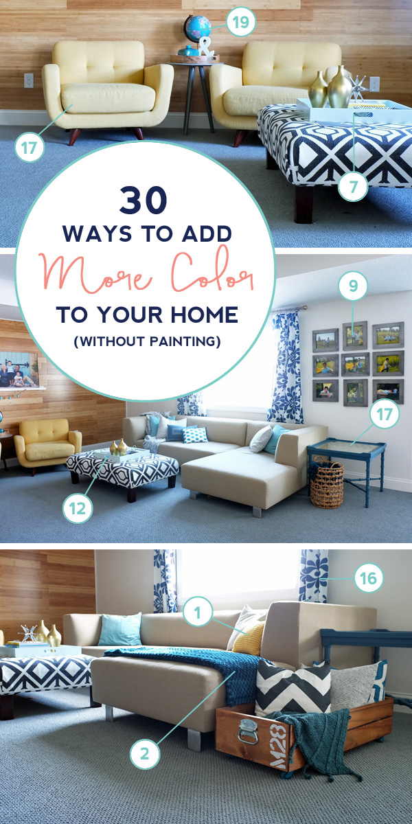 Create a colorful home without painting your walls. Here's 30 places to add a pop of color in any room. Click to see the whole list.