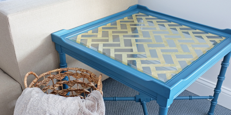 how to create a gold leaf herringbone pattern on a glass table top