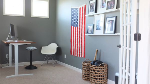 Modern gray home office with standing desk