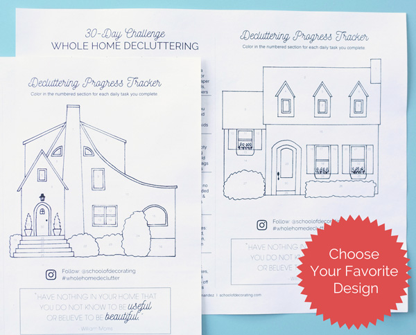 Take the 30-Day Whole Home Decluttering Challenge - get the free worksheet with this cute progress tracker...you get to color in one part of the house for every challenge step you complete
