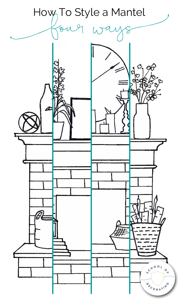 How To Style a Mantel Four Ways - whether you want a casual look or formal, eclectic or minimal, this illustrated guide to styling a mantel can help. It includes four mantel styling formulas, plus bonus tips on decorating the hearth.