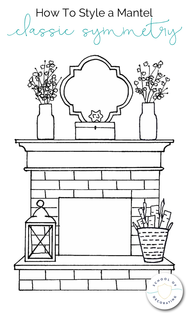 Learn how to style a mantel four ways - Classic Symmetry, Balanced Asymmetry, Clustered Collection, and Layered Casual.