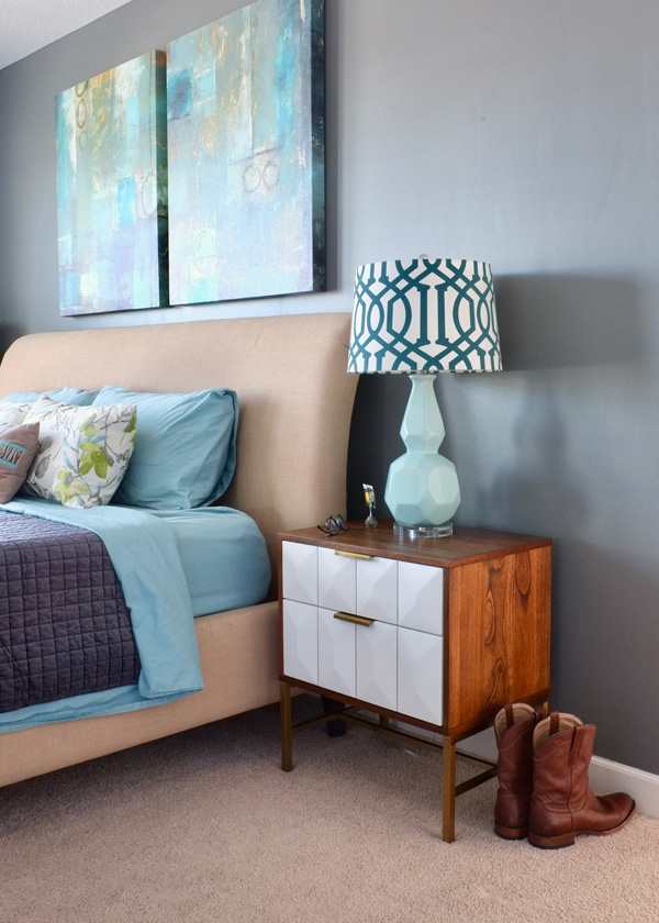 Gorgeous acacia wood nightstand with white geometric drawer fronts