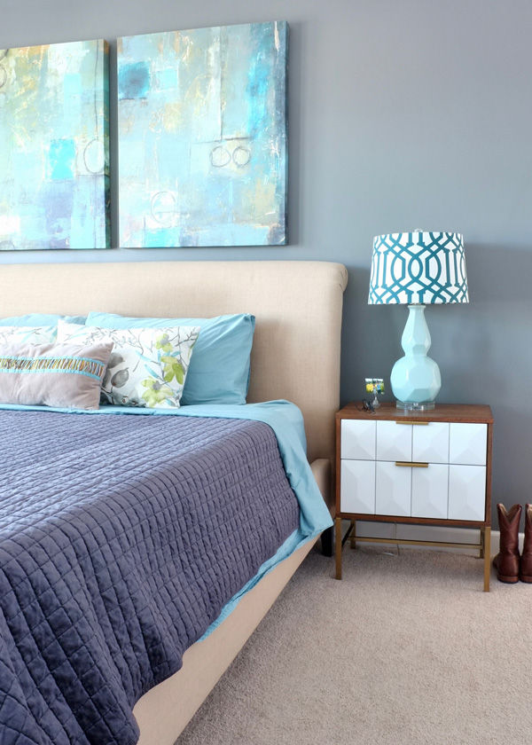 A Budget Friendly Modern Master Bedroom Makeover Under $400   Including Two  New Nightstands And