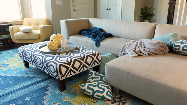 Living Room With Messy Throw Pillows